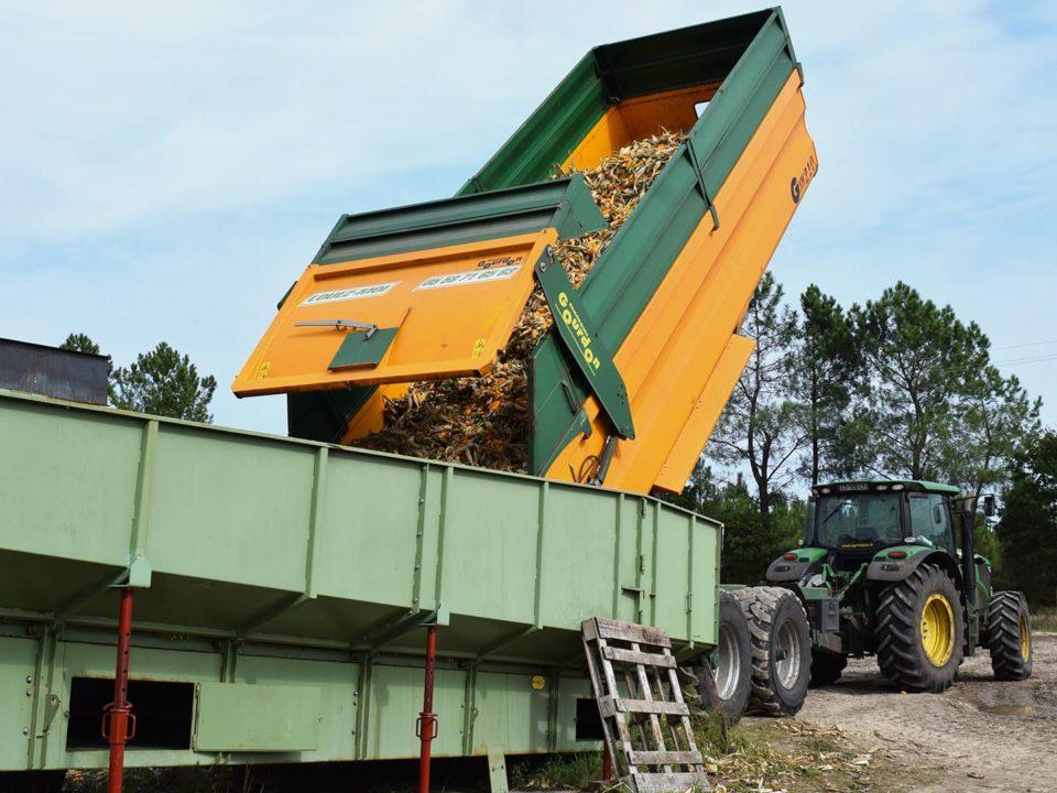 Unloading-trailer-corn-receiving-hopper