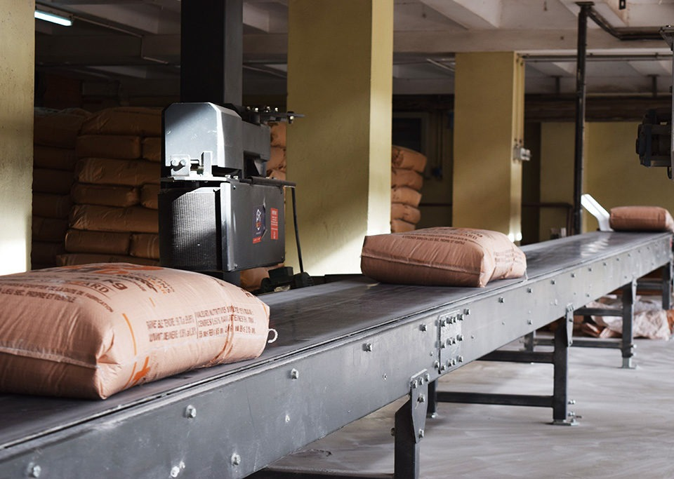 Fixed conveyor line for bag conveying